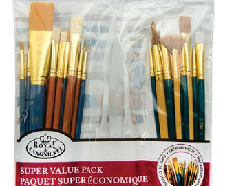 Royal Langnickel Brushes 25pc Paint Brushes White Gold Taklon Acrylics Watercolors Royal Langnickel 9387
