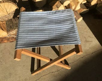Vintage Folding Camping Chair Seat Wood Canvas Foot Rest Stool Ottoman Blue Striped Gray