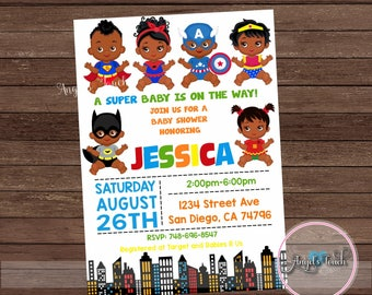 African American Superhero Baby Shower Invitation, Superheroes Baby Shower Invitation, Superheroe Baby Shower Chalk, Digital File
