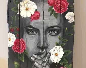 """Painting on wood """"Volupté"""""""