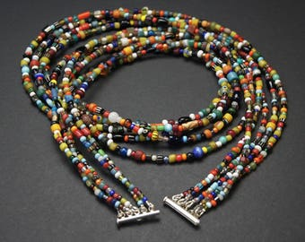 Mixed African Glass Beads Multi Strand Necklace E 07