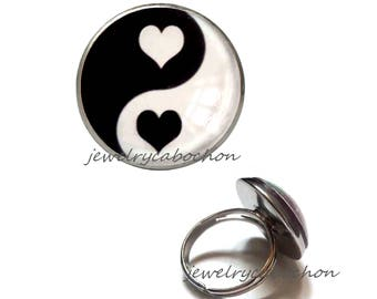 Ring yin yang heart black and white silver color christmas gift