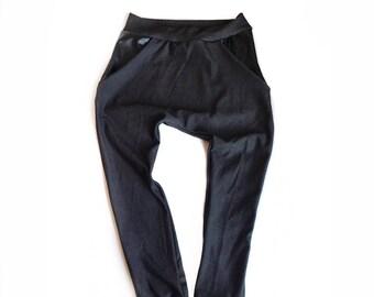 Faux Black Denim Pocket Harems | kids denim, stretch denim harems, harems, leather, pocket harems, joggers, kids joggers, leggings, bottoms