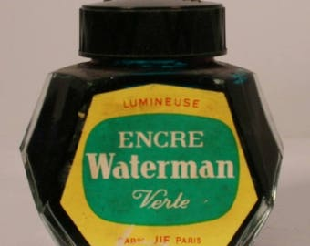 Waterman Green Ink Bottle v0578 2 oz France Verte Clear Glass Vintage Fountain Pen Ink Bottle Antique Collectible