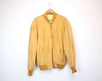 HUGO BOSS • BOSS Twenty bomber jacket • M • Vintage leather jacket • Suede leather • 80s jacket • Vintage jacket