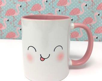 Cute Pink Kawaii Face Mug Design Two - Two Faces