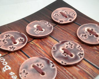 """Card of 6 round ceramics  buttons: """"stars"""", red wine, 3 cm"""