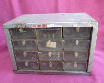 vintage industrial storage box, small metal box with drawers, metal cabinet with drawers, small drawers in cabinet, rustic metal storage box