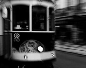 The tram in the street of Lisbon, Portugal, Lisbon.