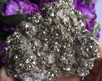 """Pyrite - Fool's Gold - Glittery Pyrite Cluster with """"Snowy"""" White Calcite(?) and triangle faces - 3"""" x 3"""" 13oz"""
