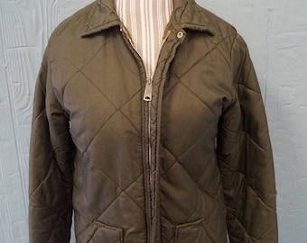 Vintage Dark Green Zip Up Winter Coat - Size Small