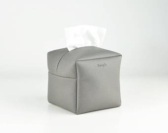 PU Leather Tissue Box Cover, Square Facial Tissue Holder, Toilet Paper Holder, Soft Touch, Dark Grey