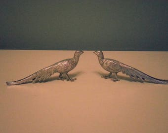 Pair of Silver Birds with Long Tails, Excellent Condition