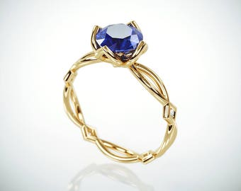 SALE Christmas in July! 14K Gold Blue Sapphire Engagement Ring  | 14k gold Natural Blue Sapphire and Diamonds engagement ring