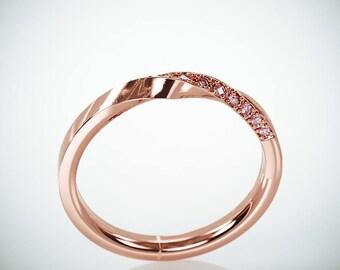 SALE! 14k Rose Gold Mubius Ring set with Pink Diamonds | Pink Diamonds Mobius Ring | Rose Gold Mobius Wedding Ring set with Pink Diamonds