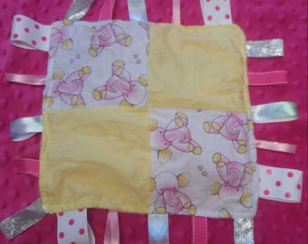 Baby Elephant Crinkle Taggie Blanly