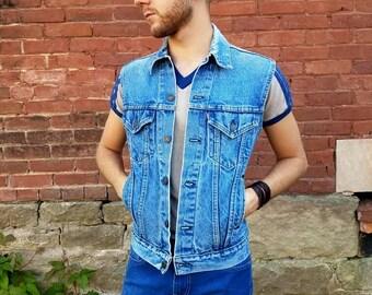 Vintage 1980s 1990s stone washed Levi's denim blue jeans vest size XS