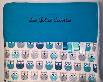 Cotton and fleece - gift - baptism - owls themed blue and white baby blanket