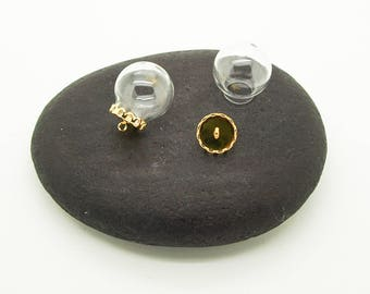 scalloped lid gold 10 mm set of 2 20mm glass globe