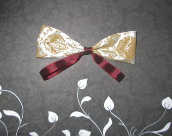 rose patterned gold and crimson ribbon bow, wedding bow, wedding hair decoration