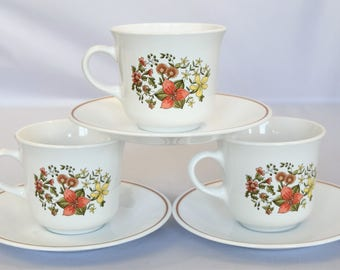 Set of 3 Corelle Indian Summer Coffee cups and saucers / Made in USA Tea Cups