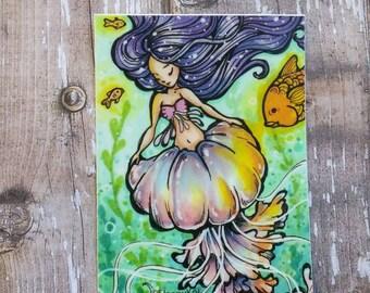 Jellyfish mermaid 3 Inch Vinyl Sticker / Decal. Planner Accessories Traveler's Notebook Car Laptop Decoration Stationery Back to School