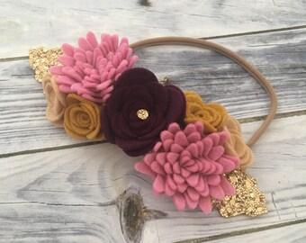 Luxe autumn flowercrown, fall flower headband, large flower headband, baby headband, baby flower headband