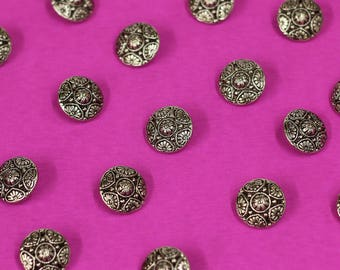 Silver Aluminum Buttons, flower buttons with shanks. round silver buttons.