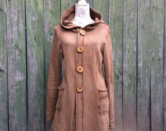 forest dweller coat with wood buttons - made to order
