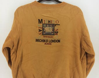Vintage 90's Michiko London Sport Classic Design Skate Sweat Shirt Sweater Varsity Jacket Size M #A802