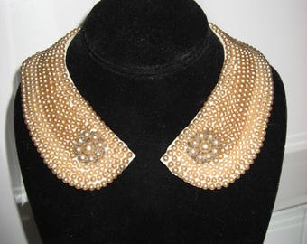 Vintage Faux Pearl & Rhinestone Beaded Collar Necklace Satin Back Miranda Japan 1940's