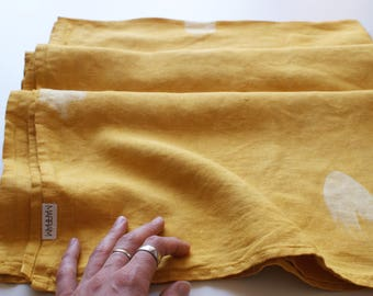 Mustard Yellow Hand Dyed Linen Throw // Painted blanket