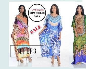 Kaftan maxi dresses long kaftans/caftan DRESS embellished SET OF 3 silk kaftans