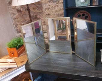 Mid Century Trifold Gold Vanity Mirror