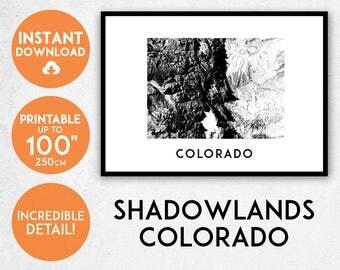 Shadowlands Colorado map print, Printable Colorado map art, Colorado print, USA map, Colorado art, Colorado poster, Colorado wall art print