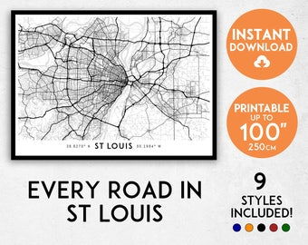 St Louis map print, St Louis print, St Louis city map, Missouri map, St Louis poster, St Louis wall art, Map of St Louis, St Louis art print