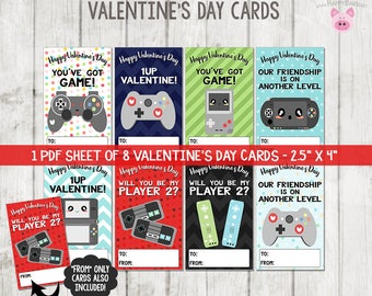 Printable Video Game Valentine's Cards, Video Game Valentines Cards, School Valentines, Gamer Valentines Cards, Printable Valentine's Day
