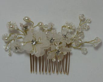 NEW - Bridal Comb with Crystals, Beads, Pearls, and Porcelain Flowers