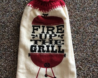 Fire up the Grill Kitchen Towel - Crochet Towel - Hand towel
