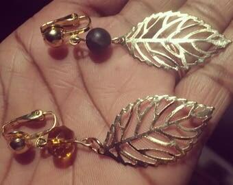 Agate Clip on earrings, 18ktgoldplated backs, earrings, crystal bead earrings, leaf earrings, gifts for her, non pierced earrings
