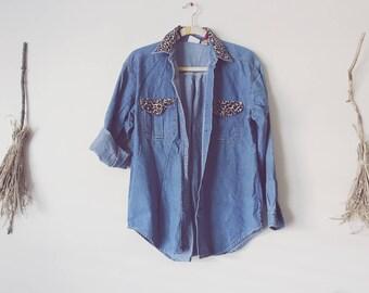 Leopard Print Denim Shirt