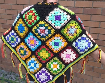 Poncho hippy crazy colourful