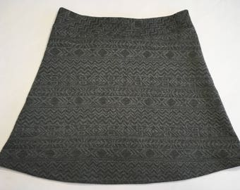 Dark Gray Quilted Embossed Design Textured Knit Activewear/Officewear Skirt Hidden Adjustable Tie Comfortable A-Line Cut Skims of Hips