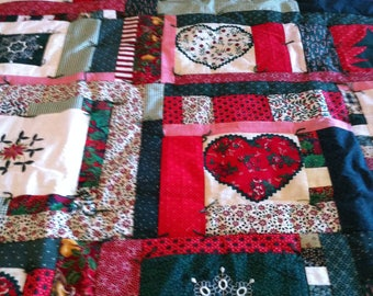 Embrodiered Christmas Lap Quilt