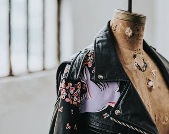 Hand-Painted Vintage Biker Jacket with Flowers and Swallow