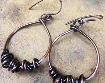 Wrapped Copper Hoops