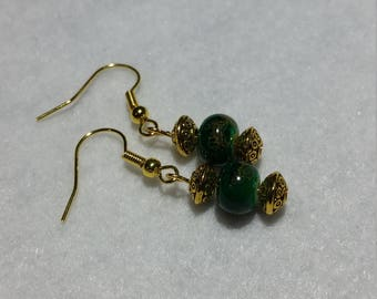Emeral Green and Gold Earrings