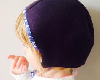 Chapeau bonnet liberty violet et bleu