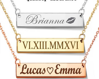 Personalized bar necklace - Gold Layering necklace - Engraved necklace - Gold bar necklace