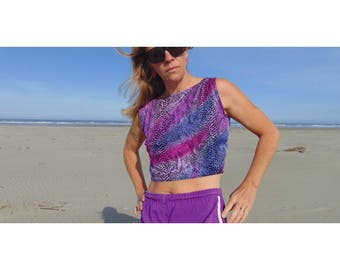 1980s Snakeskin Jazzercise Tank Top / 80s Cropped Tank Top